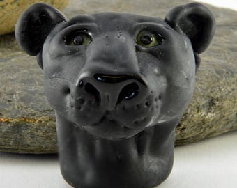 BLACK Panther head sculpture focal glass lampwork bead, Izzybeads SRA