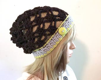 Light Warmth Lace Stitch Slouchy Beanie -  Acrylic Wool Blend yarn - lime green, gray, deep brown - boho hipster indie