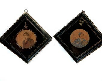 Victoria & Albert Prints Antique Late 1800s Pen and Ink with Some Coloration Plaster Frames