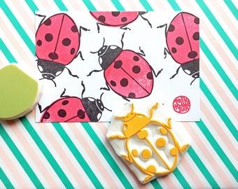 ladybird stamp, ladybug stamp, insect stamp, woodland bug hand carved stamps, baby shower crafts, birthday scrapbooking, set of 2, large