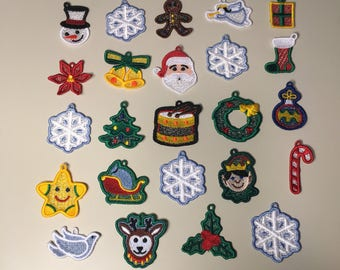 Set of 24 Christmas Lace Miniature Advent Ornaments