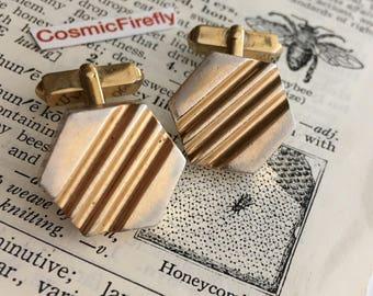 Men's Vintage Cufflinks Geometric Cufflinks Men's Cufflinks SWANK Brand Octagon Industrial Cufflinks Bee Honeycomb Abstract