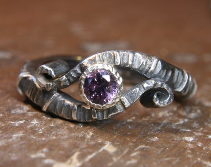 Eco Gothic amethyst and silver engagement ring. Hand made in the UK