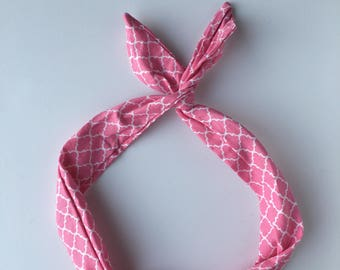 Pink Headband, Hidden wire headband, dolly bow, Hair band, pattern fabric, pink fabric hair clip, head scarf, girl hair clip, hair bow