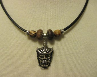 Tiki Necklace Wood Beads Leather Cording Men Women