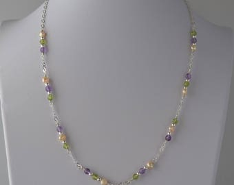 Amethyst, Peridot and Pearl Sterling Silver Necklace