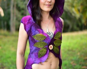 Nuno Felted Hoodie-Nuno Felted Mulberry Silk Vest-Fairy Top-Fairy Vest-Woodland Vest-Festival Wear-Silk Vest-Felt Wearable Art OOAK