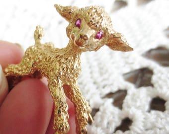 14K Lamb Brooch Yellow Gold Ruby Gemstone Small Vintage Pin Estate Fine Jewelry