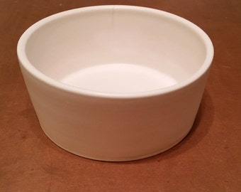 Ceramic Dog Water or Food Bowl: Handmade Pottery, White Matte Glaze, White Clay
