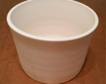 Tall Ceramic Dog Water or Food Bowl: Handmade Pottery, White Matte Glaze, White Clay Body - OOAK!