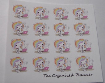 Working Unicorn Stickers / Cute Stickers / Planner Stickers