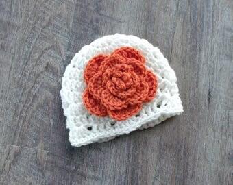 Fall Flower Hat, Crochet Baby Girl Hat, First Thanksgiving Hat, Newborn Baby Girl Hat, Fall Baby Shower Gift, Pumpkin & Cream