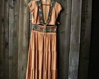 70s Gypsy Skirt Crop Top Set/ Bohemian Fashion /Boho /Made USA/Vintage From Nowvintage on Etsy