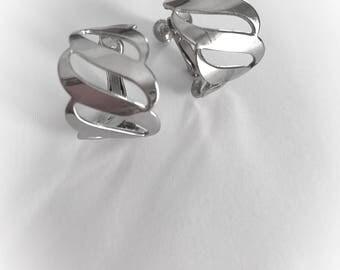 Vintage Silver Tone Metal Hoop Earrings Clip On Screw Back Combo