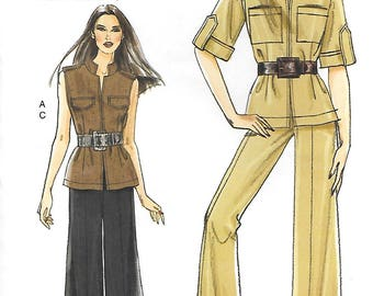 Vogue V8502 UNCUT Very Easy Safari Jacket and Pants Sewing Pattern Sizes 8 to 16 Crop Pants Cuffs