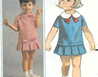Butterick 3452 1960s Toddler Dress with Box Pleated Skirt Vintage Sewing Pattern Size 2
