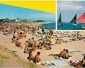 Vintage Cape Cod Postcard - Beachgoers at Falmouth Heights Beach (Unused)