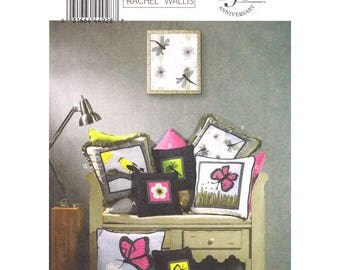 Home Decor Pattern Butterick 5903 Square Throw Pillow Butterfly Applique Cushion Piping Craft Sewing Pattern UNCUT