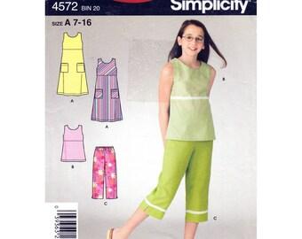 Girls Sleeveless Dress or Top, Capri Pants Pattern Simplicity 4572 Empire Jumper, Tank Top, Crop Pants Size 7 to 16 Tween to Teen UNCUT
