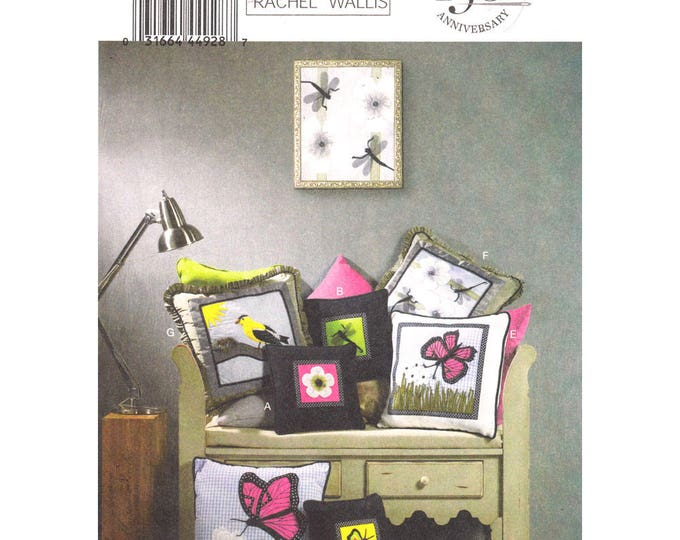 Home Decor Pattern Butterick 5903 Square Throw Pillow Butterfly Applique Cushion