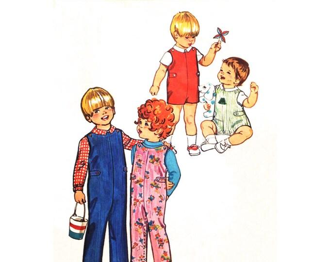 Kids Jumpsuit & Shirt Pattern Simplicity 5050 Short Overalls Romper Sunsuit Toddler Size 3