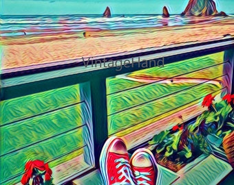 Relaxing at Cannon Beach Digital download / Converse pink sneakers / blue sky / green grass / Photograph / Art download / Home Decor