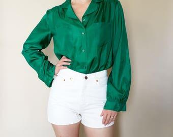 vintage EMERALD silk blouse S-M