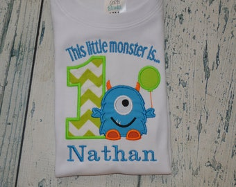 Monogrammed This Little Monster is One  Shirt, Monogrammed Monster First Birthday, 1st Birthday Monster Shirt