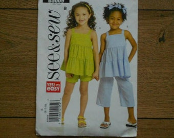 2007 butterick see and sew pattern 5009 girls top pants shorts sz 6-7-8 uncut