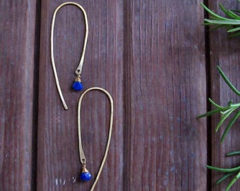 Voyage - Threader Style Earrings with Lapis Stones - Minimalist Threader Style Earrings - Lightweight Earrings - Long Earrings