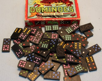 Vintage Dragon Dominoes Double Nine 920-HR Halsam 1950's 56 count colored dots