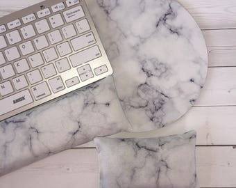 Marble Matching Keyboard rest and / or WRIST REST for MousePads  - usa Pick your own pattern - mouse pad set coworker gift