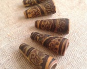 Summer Yellow and Burnt Umber - Batik Cone Beads - hand painted rustic patterned cone beads boho chic polymer clay (ready to ship)