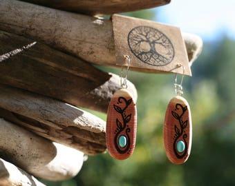 Turquoise & Red Cedar Earrings- Wooden Earrings - Natural Wood Jewelry- Eco Earrings