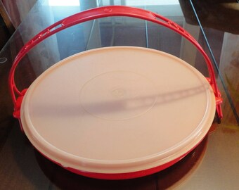 70s Red Hors d'oeuvres Server/Carrier Tupperware