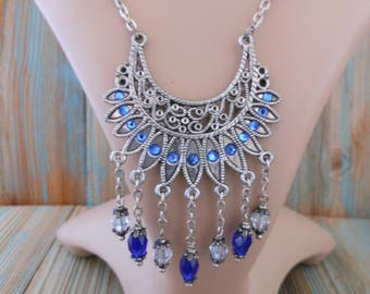 Sapphire Blue Bib Necklace with Swarovski Rhinestones ~ Silver Plated Chain Wire Wrapped with Czech Glass Beads ~ Unique Jewelry for Women