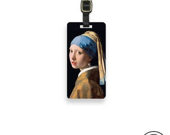Luggage Tag  The Girl with the Pearl Earring With Printed Custom Info On Back Single Tag Vermeer Replica