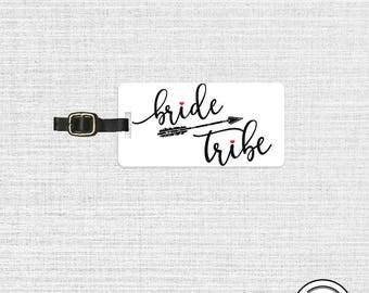 Bride Tribe Luggage Tag Metal Tag  Personalized Printed Address, Quote or Message on Back  Single Tag