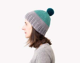 Knit Winter Beanie, Color Block Hat, Pom Pom Hat, Hand Knit Hat, Ski Hat, Fitted Beanie, Knitted Toque, Winter Accessories, Fall Fashion