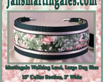 Jansmartingales,  Dark Green Walking Lead, Dog Collar and Lead Combination, Greyhound, Large Dog Size, Dgrn120