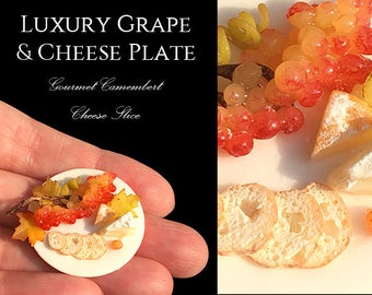 Luxury Fall Cheese & Grape Platter - Set On a Fine Artisan Plate - Food in 12th scale. From After Dark miniatures.
