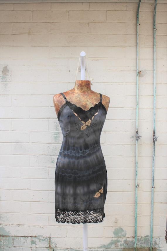Medium Tie Dye Vintage Slip/Black and Tan Slip/Upcycled/Ecru Rustic Wedding/Upcycled cowgirl/Tattered Revolution/French Summer/Shibori