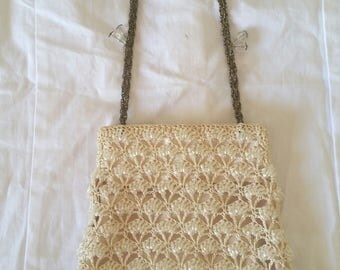wedding purse, bridal purse, ivory beadwork, EXQUISITE delicate, seed beads, victorian look