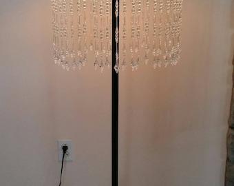 Gooseneck lamp shade etsy victorian style white gooseneck lamp shade with clear beaded fringe mozeypictures Choice Image