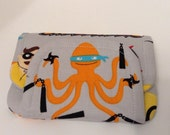 super hero children's fabric wallet / purse . grey with orange lining . kids coin purse . kids wallet. LAST ONE! ready to ship