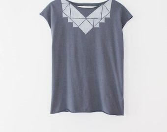 Handmade t shirt, Blue shirt, hand printed shirt, Greyish blue top