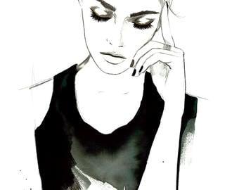 "Letting it Go, original 14 x 20"" watercolor fashion illustration by Jessica Durrant"
