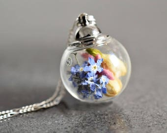 925 silber necklace - Flower Bouquet with True Forget-me-not Blossoms