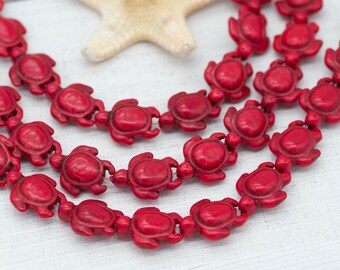 Turtle Beads, Red Howlite Beads,  24 pc Strand, Red Beads, Red Turtle Beads, Beach Beads -B234