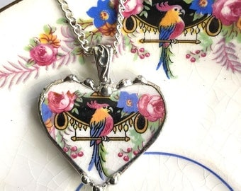 Broken china jewelry heart pendant necklace Art Deco parrot cockatoo antique recycled china